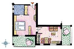 Skizze Appartement Nr. 1