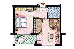 Skizze Appartement Nr. 2 + 5